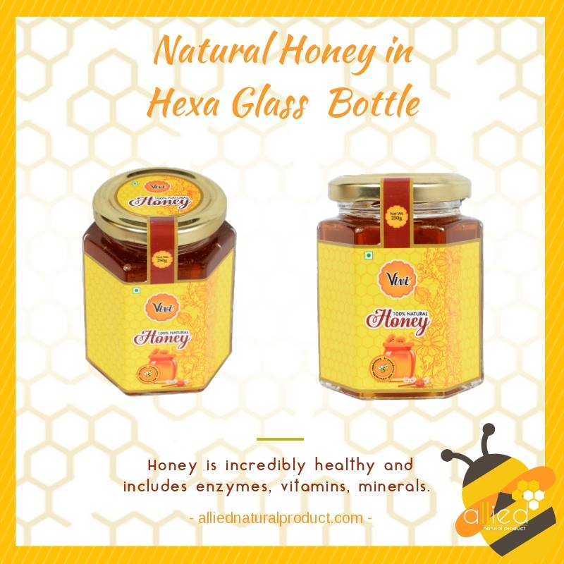 Natural Honey in Hexa Glass Bottle-Allied